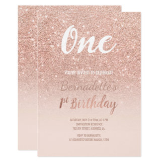Faux rose gold glitter ombre first Birthday Card