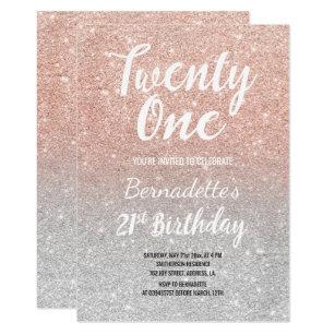 21st birthday invitations announcements zazzle uk faux rose gold glitter ombre silver 21st birthday invitation filmwisefo