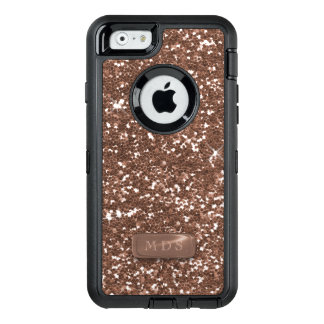 Faux Rose Gold Glitter Otterbox Glitz 3D Monogram OtterBox Defender iPhone Case