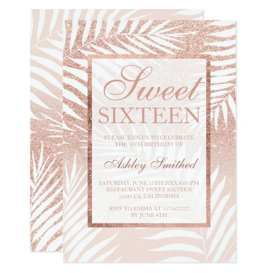 Faux rose gold glitter palm tree chic Sweet
