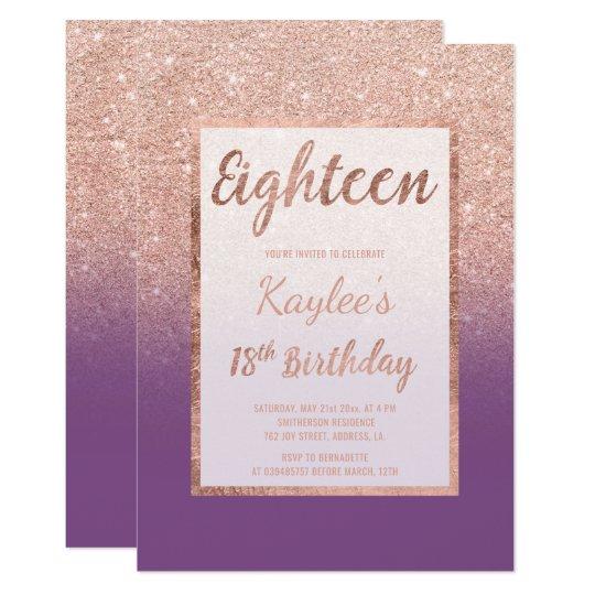 Faux rose gold glitter purple chic 18th Birthday