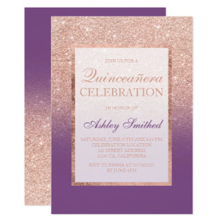 Faux rose gold glitter purple chic Quinceañera Card