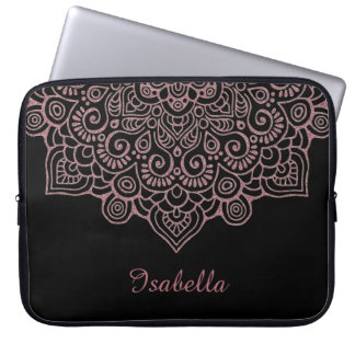 Faux rose gold Gold Intricate Lace Mandala BLACK Laptop Sleeve