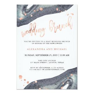 Faux Rose Gold | Gray Geode Post Wedding Brunch Card