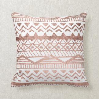 Faux rose gold handdrawn geometric aztec cushion