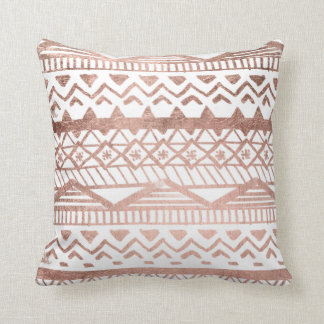 Faux rose gold handdrawn geometric aztec throw pillow