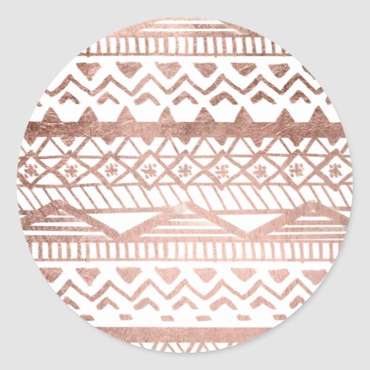 Faux rose gold handdrawn trendy aztec classic round