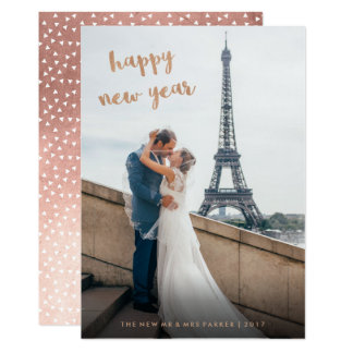 Faux Rose Gold Happy New Year Photo Card