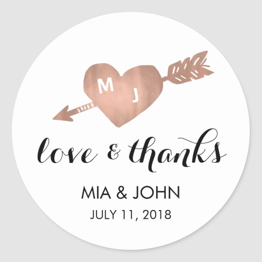 Faux Rose Gold Heart Thank You Wedding Favour
