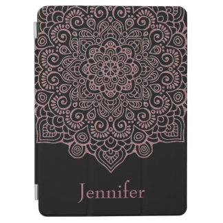 Faux Rose Gold Intricate Lace Mandala black iPad Air Cover
