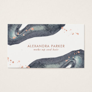 Faux Rose Gold Look and Gray Watercolor Geode Business Card