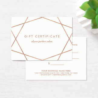 Faux Rose Gold Look Geometric | Gift Certificate