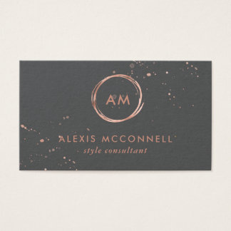 Faux Rose Gold Look on Charcoal Gray | Circle Business Card