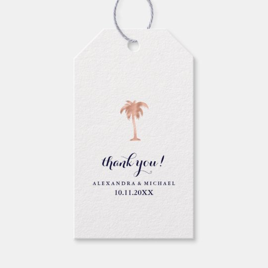 Faux Rose Gold Look Palm Tree Wedding Gift