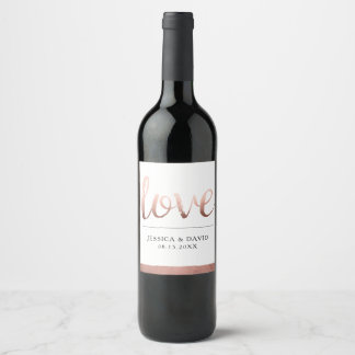 Faux Rose Gold Love Wine Label