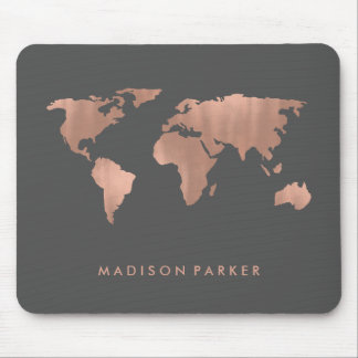 Faux Rose Gold Map of the Continents Mouse Mat