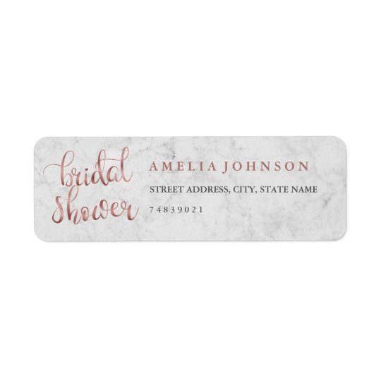 Faux Rose Gold Marble Address Label