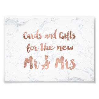 Faux rose gold marble gifts wedding sign photograph
