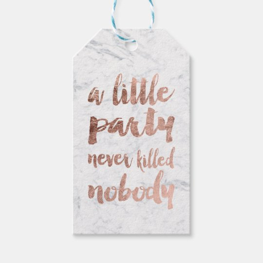 Faux rose gold marble party typography gift tags