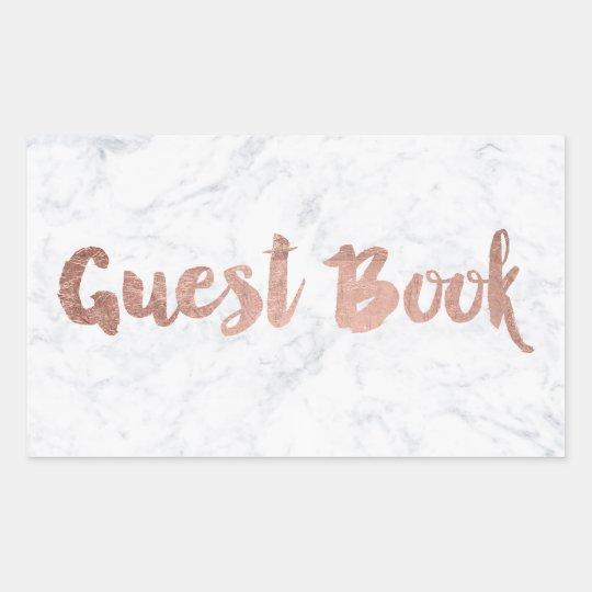 Faux rose gold marble script guest book wedding
