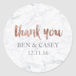 Faux Rose gold marble typography wedding thank you Round Sticker