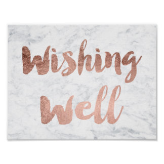 Faux rose gold marble wishing well wedding sign poster