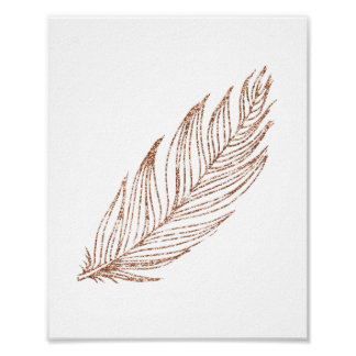 Faux Rose Gold Metallic Glitter Feather Art Print