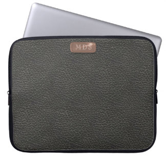 Faux Rose Gold Monogram on Black Leather Look Computer Sleeve
