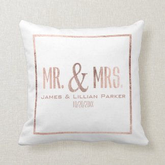Faux Rose Gold Mr. and Mrs. Monogram Wedding Cushion