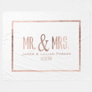 Faux Rose Gold Mr. and Mrs. Monogram Wedding Fleece Blanket