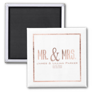 Faux Rose Gold Mr. and Mrs. Monogram Wedding Square Magnet