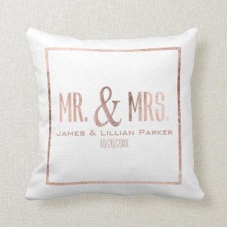 Faux Rose Gold Mr. and Mrs. Monogram Wedding Throw Cushion