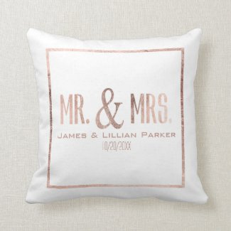 Faux Rose Gold Mr. and Mrs. Monogram Wedding
