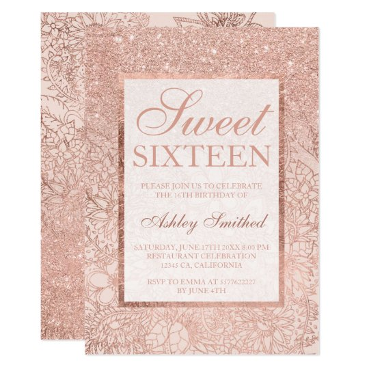 Faux rose gold ombre floral blush Sweet 16