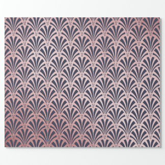 Faux Rose Gold on Midnight Blue Art Deco Fans Wrapping Paper