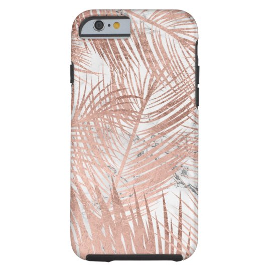 Faux rose gold palm tree leaf marble pattern