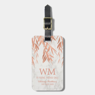 Faux Rose Gold Personalized Monogram Marble Travel Luggage Tag
