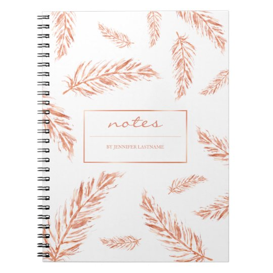 Faux Rose Gold Pink Feathers And Notes Text