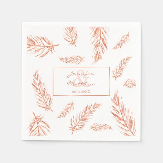 Faux Rose Gold Pink Feathers Wedding Couple Names