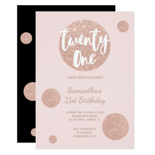 Faux rose gold polka dots blush 21st Birthday