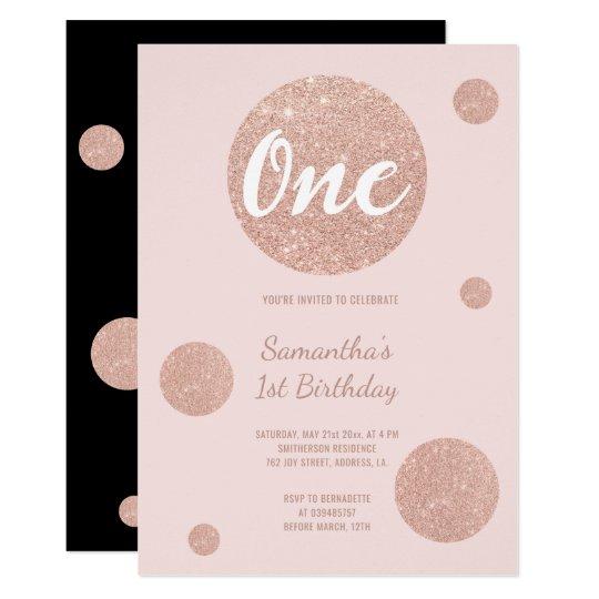 Faux rose gold polka dots blush First Birthday