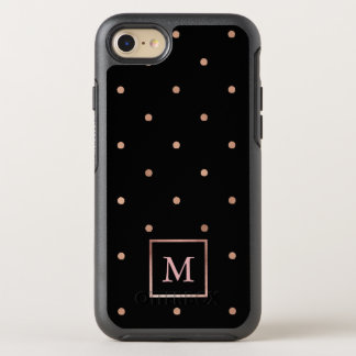 Faux Rose Gold Polka Dots on Black OtterBox Symmetry iPhone 8/7 Case