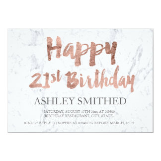 Faux rose gold script marble 21st birthday party 13 cm x 18 cm invitation card