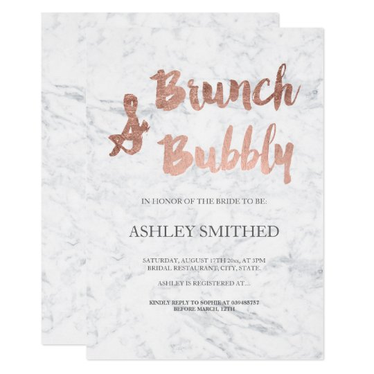 Faux rose gold script marble brunch bubbly bridal