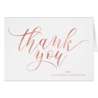 Faux Rose Gold Script Thank You Note Card