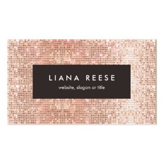 FAUX Rose Gold Sequin Beauty Salon Brown Plaque Pack Of Standard Business Cards