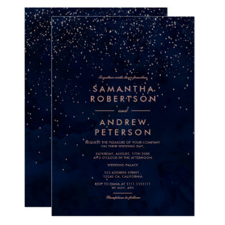 Faux rose gold stars navy blue watercolor wedding card