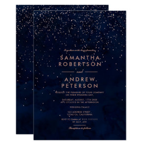 Faux rose gold stars navy blue watercolor wedding invitation