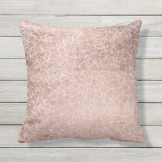 Faux rose gold stripes geometric abstract pattern cushion