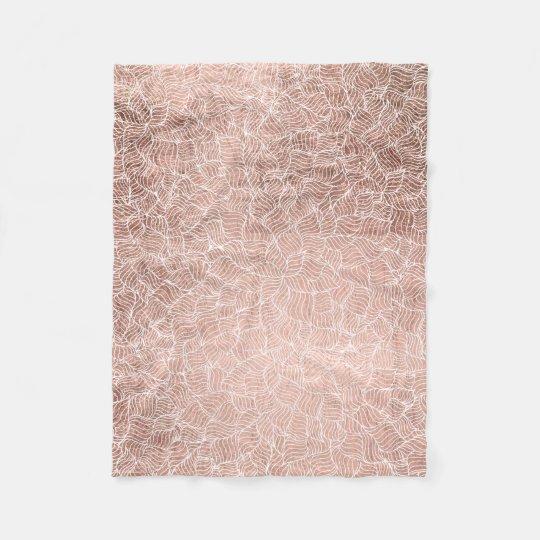 Faux rose gold stripes geometric handdrawn pattern fleece